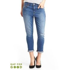 Gap Women Washwell Mid Rise Destructed Best Girlfriend Jeans ($45) ❤ liked on Polyvore featuring jeans, dark indigo, petite, white ripped jeans, stretch jeans, distressed jeans, ripped denim jeans and denim jeans