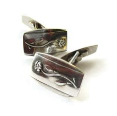 Danish Art Deco 830 silver cufflinks, flower design, 1930s vintage Scandinavian silver, Hans Jensen Denmark, floral shirt accessories. https://www.etsy.com/uk/listing/491928094/danish-art-deco-830-silver-cufflinks