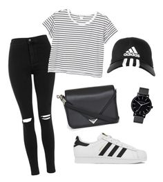 """""""B&W"""" by justine-frial on Polyvore featuring Topshop, adidas, Alexander Wang, Monki and The Horse"""
