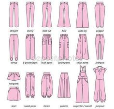 Drawing Fashion Drawing Fashion Set of silhouettes of different types of women's trousers and shorts Fashion Design Drawings, Fashion Sketches, Drawing Fashion, Pants Pattern Free, Free Pattern, Fashion Terms, Fashion Hacks, Fashion Ideas, Clothing Sketches