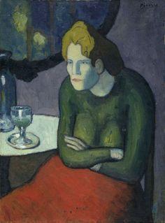 Pablo Picasso. Buveuse d'absinthe / [recto : Femme dans la loge], 1901. Öl auf Leinwand, 81 x 60 cm. Stiftung Im Obersteg, Depositum im Kunstmuseum Basel, Inv. Im 1411.