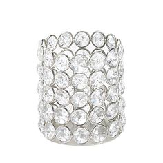 Add stylish decoration to your home with this Sparkling Crystal Round Candle Holder. It features rows of round crystalline gems each surrounded with silver metal to give it glamorous shimmer and shine.