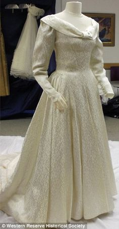 1940's ivory gown with a floral pattern