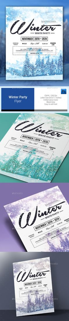 Winter Flyer Poster Electronic music, Winter and Party poster - winter flyer template