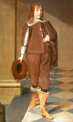 ''1646 Wybrand de Geest - Portrait of a boy''. Privileged youths were expected to have command of their accessories and to manage them elegantly; how to carry gloves, sweep off the plumed hat, control the cloak. The turning out of the feet -like a ballet dancer- was also a sign of good-breeding.