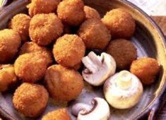 "Dip mushrooms in egg first then roll in breadcrumbs and parm cheese. Bake on sprayed foil lined pan-I would use egg white only? I love ""fried"" mushrooms! Use whole grain bread crumbs"