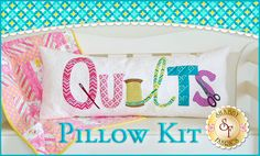 Quilts Pillow - Laser-Cut Kit : The perfect accent in your sewing room or to give as a special gift for your quilter friend is this super cute and BIG quilter's themed pillow! This Shabby Exclusive design features an envelope opening in the back so the pillow form is interchangeable. Finished size is 3 FEET LONG X 15