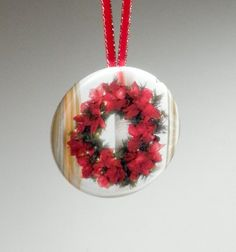 Poinsettia Wreath Pocket Mirror Christmas Ornament by donnapool, $7.00