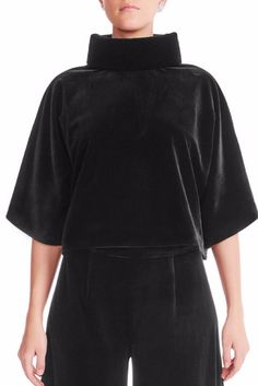 This velvet turtle neck top has everything you want. Lined with luxurious satin, the dolman sleeves enhance its oversized silhouette. Signature Collection, Velvet Tops, Mulberry Silk, Wide Leg Trousers, Women Wear, Turtle Neck, Sweatshirts, Model, How To Wear