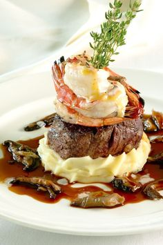 """The fourth course, """"Romance"""", delivers the restaurant specialty, Duo of File. Gourmet Recipes, Beef Recipes, Cooking Recipes, Gourmet Food Plating, Butter Poached Lobster, Food Plating Techniques, Bistro Food, Food Presentation, Creative Food"""