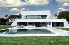 Home Design, Charming Modern Home Design Around Architecture And Modern Within Exquisite All White Sotogrande House Breathtaking White . House Design Photos, Cool House Designs, Modern House Design, Modern Interior Design, Design Exterior, Style At Home, Pool Houses, Home Fashion, Architecture Design