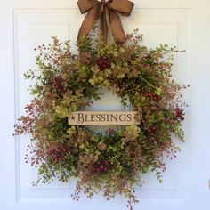 Autumn Wreaths-Fall Wreaths-Blessings Wreath-Eucalyptus Wreath-Wooden Signs-Fall Decor-Hostess Gift-Thanksgiving Wreath-Wreath