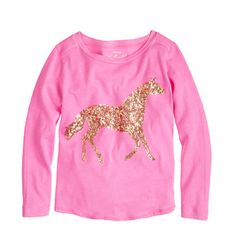 Girls love horses. And sequins. But they especially love a horse made of sequins. This year-round cotton tee is sure to stay at the top of the drawer. <ul><li>Cotton.</li><li>Machine wash.</li><li>Import.</li><li>Sizes 2 and 3 feature glitter instead of sequins.</li></ul>
