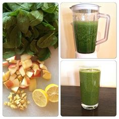The Morning After #GreenSmoothie  Help your body get back on track with this #alkaline green smoothie! ❤️3 Handfuls of Spinach, 1 Apple, 1 Lemon  with 1/4 of the lemon peel, thumb-size piece of ginger, 1cup of water
