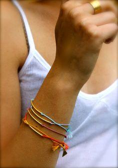 Gold Tube Silk String Bracelet