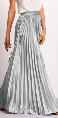 9d8bb74a1a1 Silver Zipper Side Pleated Flare Maxi Skirt