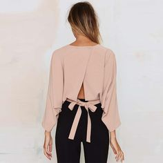 Elegant solid Women blouse Autumn Sexy three quarter back bow Crop Tops blusas 2017 O NECK strappy office shirt chemisier femme Cropped Tops, Bow Crop Tops, Fashion Details, Look Fashion, Womens Fashion, Look Chic, Mode Inspiration, Passion For Fashion, Blouses For Women