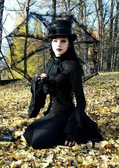 mourning Goth girl Neo-Victorian