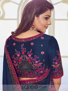 Kajal Aggarwal Blue Silk Saree With Resham Embroidery Best Blouse Designs, Silk Saree Blouse Designs, Bridal Blouse Designs, Embroidery Fashion, Flower Embroidery, Embroidery Patterns, Traditional Silk Saree, Bridal Lehenga Collection, Hand Work Blouse Design