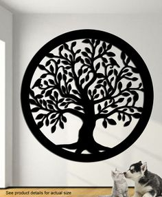 Tree of life with two birds wall art This tree of life measures 24 x 24. Made from 14 gauge steel- this is a super nice wall hanging suitable for