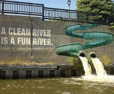 a clean river, is a fun river #river #wall #grafitti