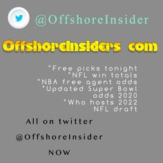 Best sports betting feed on Twitter is @OffshoreInsider The free info and betting picks are the best in gambling Nfl Betting, College Football Picks, Free Sports Picks, Wnba, Minnesota Twins, Free Agent, New York Giants, Super Bowl, Twitter