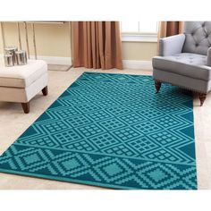 Abbyson Hand-tufted Rowe Teal New Zealand Wool Rug (5' x 8') (Dark Teal and Green-Blue), Blue, Size 5' x 8' (Natural Fiber, Abstract)