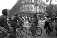 This is a picture that was taken in Paris on August 25th, 1944, where the people were occupying the streets with their bicycles, when at the time there wasn't many cars.