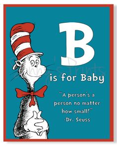 Dr Seuss Cat in the Hat Baby Nursery Wall Print 8x10