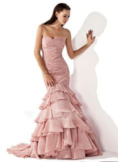 Evening Dresses - $199.99 - Mermaid Sweetheart Sweep Train Chiffon Evening Dress With Ruffle (017013103)