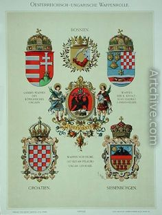 Coats of arms from the Austro-Hungarian Empire, from Heraldischer Atlas by the artist, 1899 reproduction by (after) Strohl, Hugo Gerard Hungarian Tattoo, Korcula Croatia, Web Gallery, Austro Hungarian, Historical Images, Illuminated Letters, Crests, My Heritage, Coat Of Arms