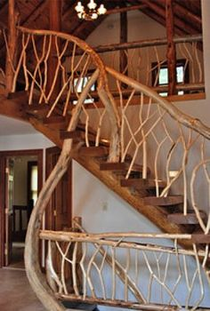 stairs that use bent wood for a decorative effect.