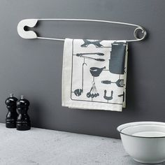 giant metal display pin by gertie & mabel | Good way to hang a towel