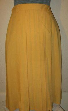 VTG 60er Jahre Senf gelb Leinen hohe Taille Pleated langen vollen Rock größere Größe