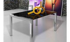 Mesa comedor de cristal negro con alas extensibles 120x90x76