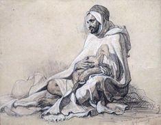 Gustave GUILLAUMET (1840-1887) Le berger. Dessin au fusain et à la craie sur papi