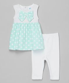 Look at this bon bébé Mint Polka Dot Bow Dress & White Jeggings on #zulily today!