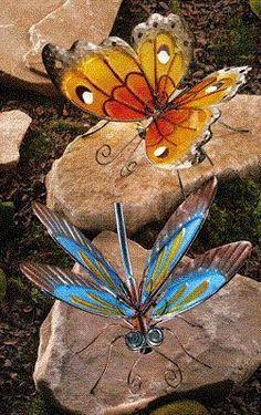 Art Glass Garden Sculptures - Butterfly, Dragonfly