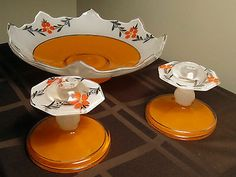 "Vintage Art Deco Bowl w /candleholders "" Moderne Classic"" by Indiana Glass Co"