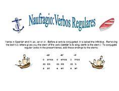 Spanish Regular Verb Practice Activity (Shipwreck-Naufragio)