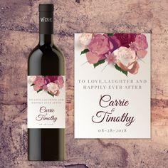 Wedding Wine Bottle Label, Custom Wine Bottle Labels for Wedding Tables, Bride and Groom Wedding Wine Bottle Label by StylinBottles on Etsy https://www.etsy.com/listing/471161911/wedding-wine-bottle-label-custom-wine