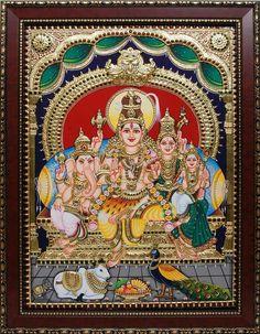 Shiv Parvati  Parivaar Mural Painting, Fabric Painting, Diy Painting, Mysore Painting, Tanjore Painting, Om Namah Shivaya, Shiva Art, Shiva Shakti, Wonder Art