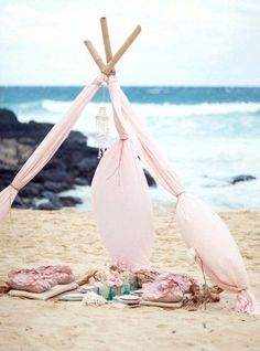 oh, yes , bring me summer and this romantic beach tent......