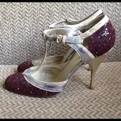 """MIU MIU PRADA GLITTER SPARKLE STRAPPY PUMPS HEELS Amazing MIU MIU PRADA sz 36 1/2 or US sz 6.5, Burgundy, Gold and Silver SPARKLE pumps.  BURGUNDY GLITTER adorns the footbed and heel!  Sexy T-Strap, Comfortable 3 3/4"""" heel.  EXCELLENT CONDITION, HEELS are EXCELLENT TOO!  Shown.  Sexy and cool! Great HOLIDAY COLORS!  Perfect for a CHRISTMAS PARTY OR EVENT!  Will ship right away. CHECK OUT MY OTHER AMAZING ITEMS. I also discount on bundles Miu Miu Shoes Heels"""