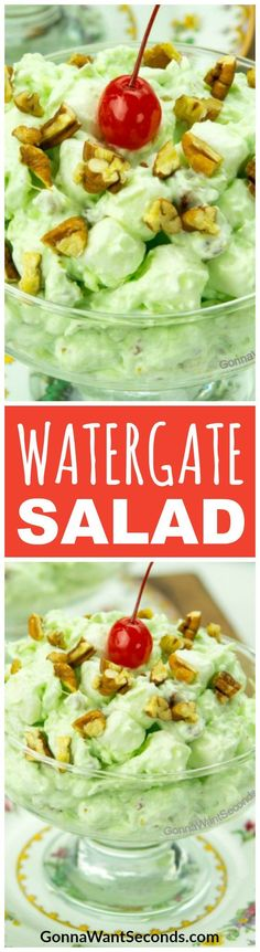 You don't have to spend hours baking fancy desserts to be the talk of the party. Why not try my recipe for Watergate salad? It just takes a few minutes, and it'll be the most popular dish at your next potluck! #Watergate #Salad #Rich #Crunchy #Easy #Desserts #Recipe #Pecans #WithMarshmallows #Pistachio #Pudding #Cherries #Pineapple #Sweet #Treats #Creamy #WhippedTopping