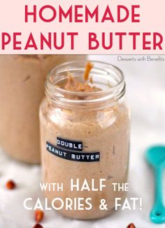 4-ingredient Low Calorie Peanut Butter — if you love PB (but not all the calories and fat) then this recipe is for you!