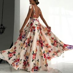 Sexy New Backless Floral Print Maxi Dress e2d0b5074