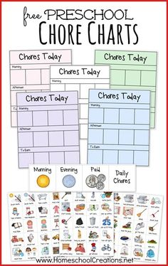 Free printable preschool chore charts - encourage kids to do their chores, complete personal tasks each day, and develop responsibility. Great for younger kids who can't read or for visual learners.
