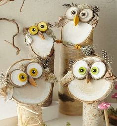 Wood Crafts Naturally beautiful wood decoration for all seasons tinker! From tree trunks . Wood Log Crafts, Wood Slice Crafts, Owl Crafts, Diy And Crafts, Crafts For Kids, Christmas Crafts, Christmas Decorations, Christmas Ornaments, Wood Decorations