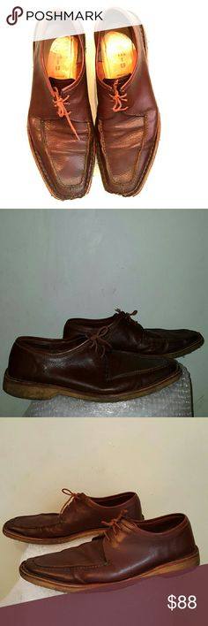 Miu Miu brown men's shoes size 10 brown Brown leather upper. Elevated front stitching detail. Left shoe' lace is partially damaged and should be replaced. Rubber soles (extremely dirty, see pics). Made in Italy. Miu Miu Shoes Loafers & Slip-Ons